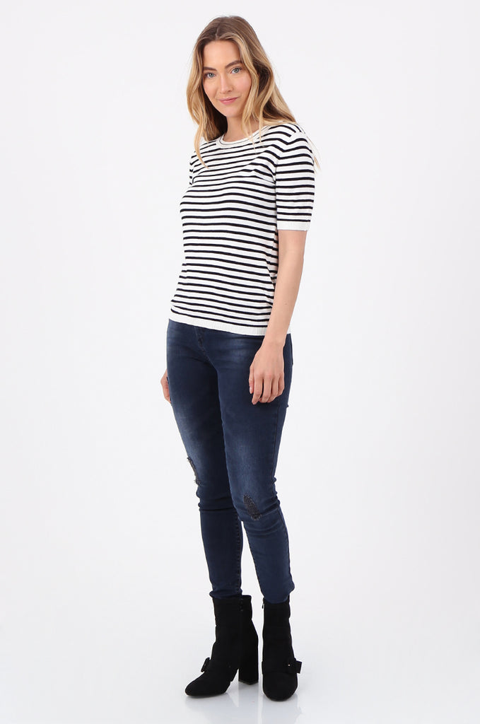 SWF2643-BLACK SHORT SLEEVE STRIPED KNIT TOP view 4