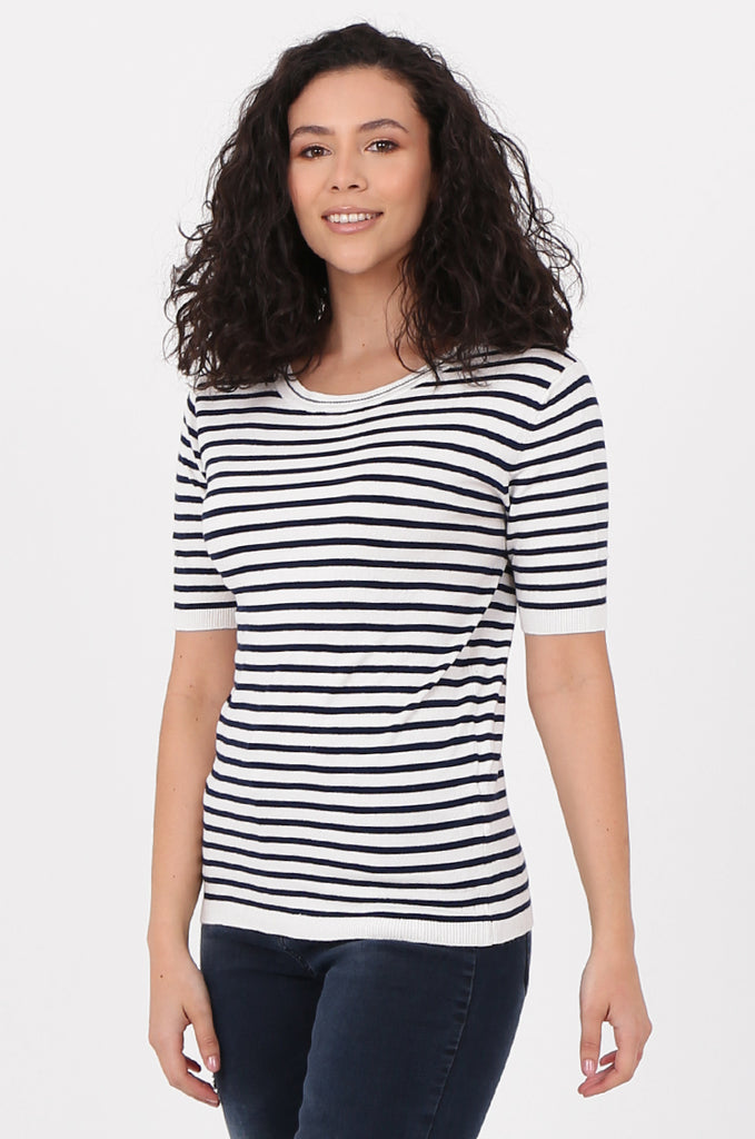 SWF2643-NAVY SHORT SLEEVE STRIPED KNIT TOP