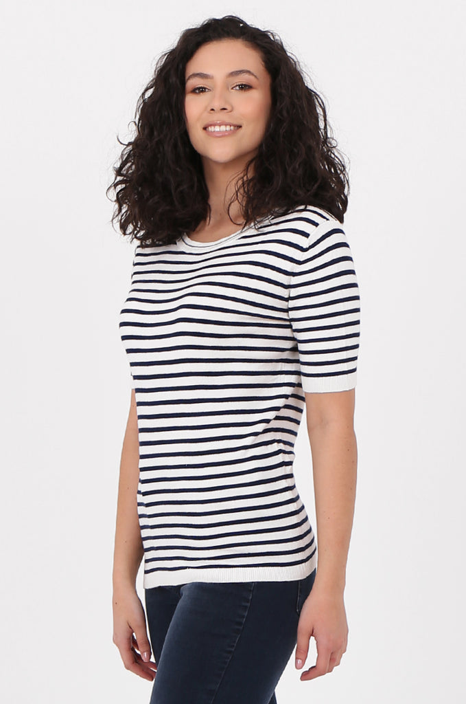 SWF2643-NAVY SHORT SLEEVE STRIPED KNIT TOP view 2