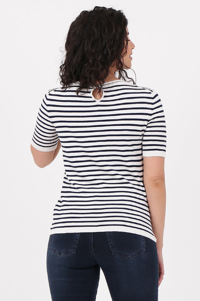 SWF2643-NAVY SHORT SLEEVE STRIPED KNIT TOP view 3