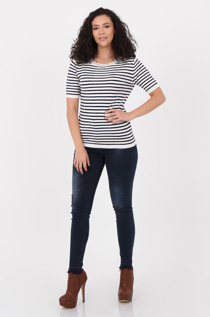 SWF2643-NAVY SHORT SLEEVE STRIPED KNIT TOP view 4