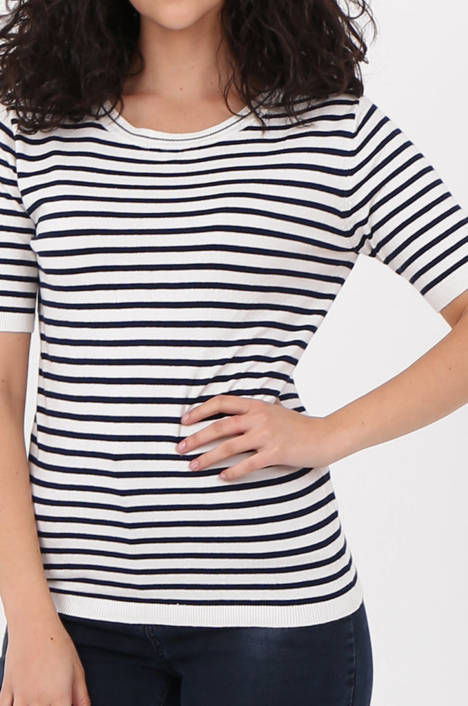 SWF2643-NAVY SHORT SLEEVE STRIPED KNIT TOP view 5