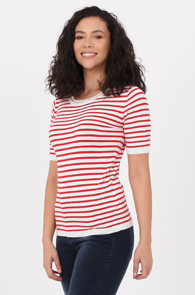 SWF2643-RED SHORT SLEEVE STRIPED KNIT TOP view 2