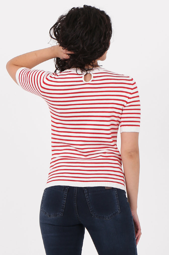SWF2643-RED SHORT SLEEVE STRIPED KNIT TOP view 3