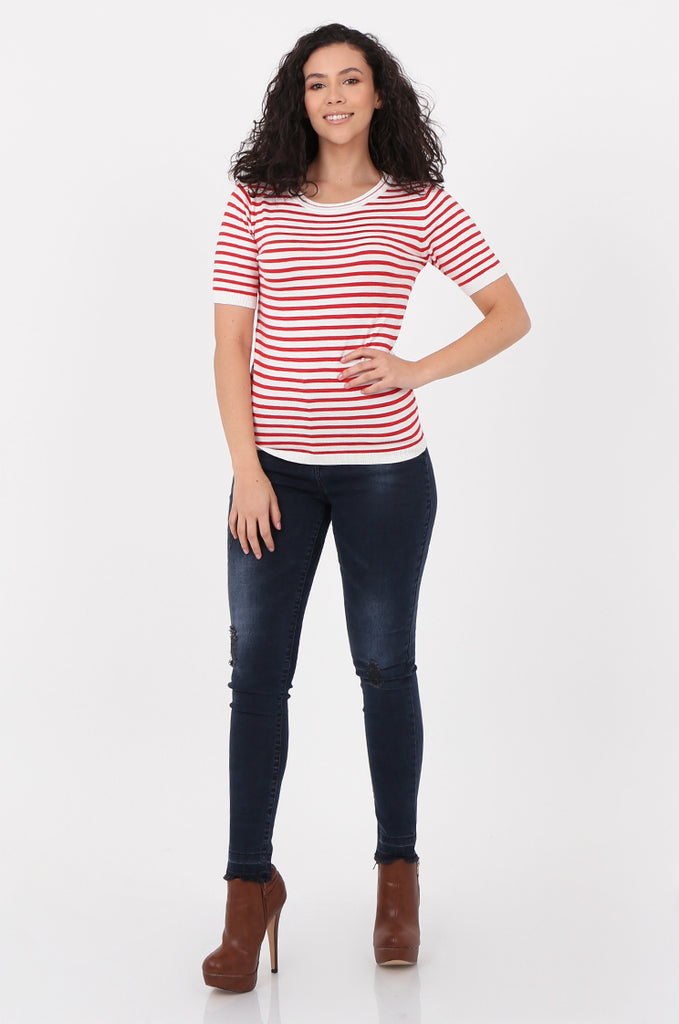 SWF2643-RED SHORT SLEEVE STRIPED KNIT TOP view 4