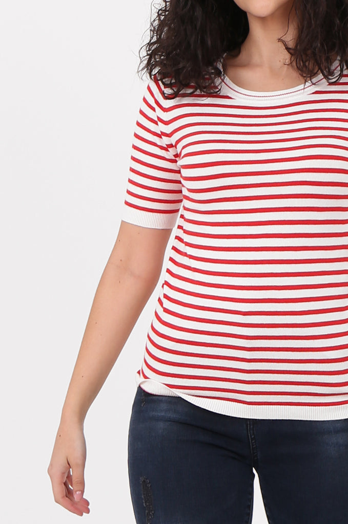 SWF2643-RED SHORT SLEEVE STRIPED KNIT TOP view 5