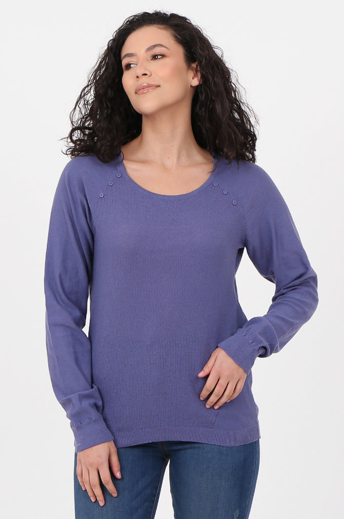 SWF2644-PURPLE LONG SLEEVE BUTTON DETAIL KNIT TOP