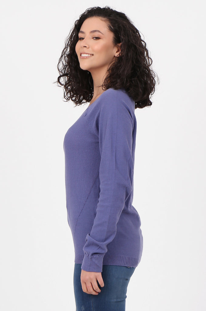 SWF2644-PURPLE LONG SLEEVE BUTTON DETAIL KNIT TOP view 2