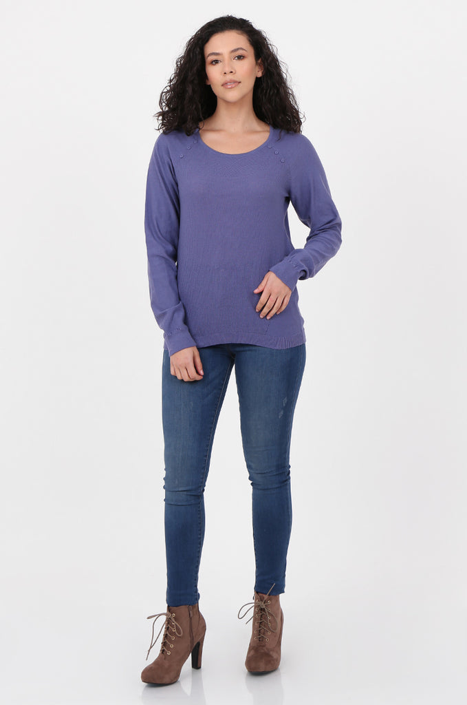 SWF2644-PURPLE LONG SLEEVE BUTTON DETAIL KNIT TOP view 4