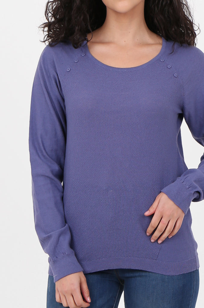 SWF2644-PURPLE LONG SLEEVE BUTTON DETAIL KNIT TOP view 5
