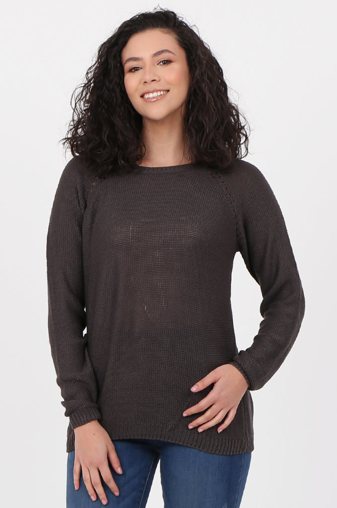 SWF2645-CHARCOAL LONG SLEEVE DETAIL KNIT JUMPER