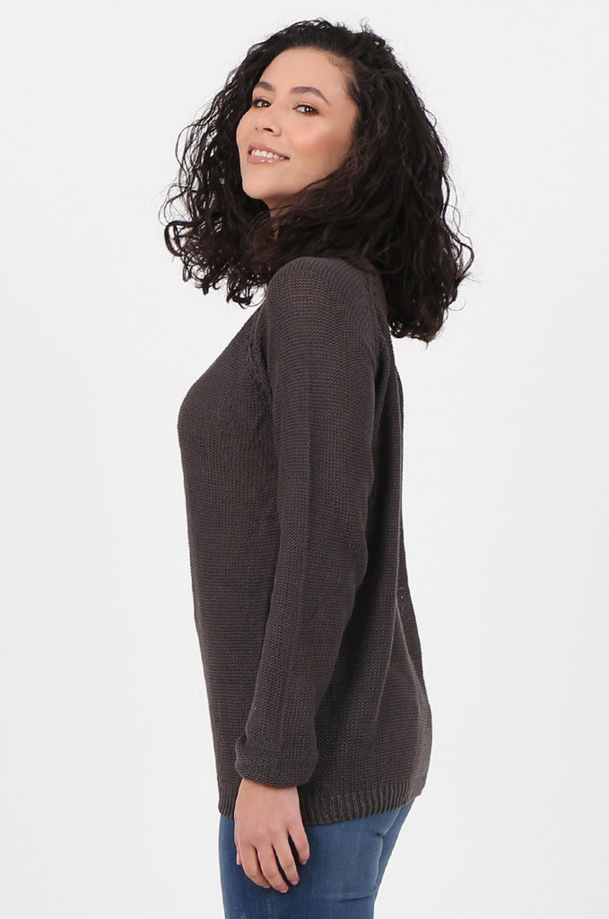 SWF2645-CHARCOAL LONG SLEEVE DETAIL KNIT JUMPER view 2