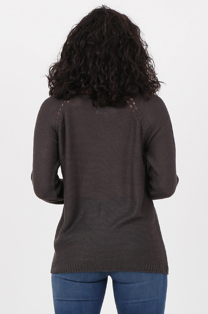 SWF2645-CHARCOAL LONG SLEEVE DETAIL KNIT JUMPER view 3