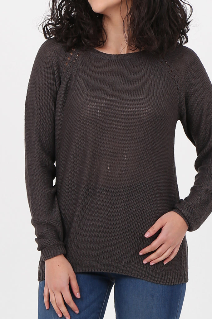 SWF2645-CHARCOAL LONG SLEEVE DETAIL KNIT JUMPER view 5