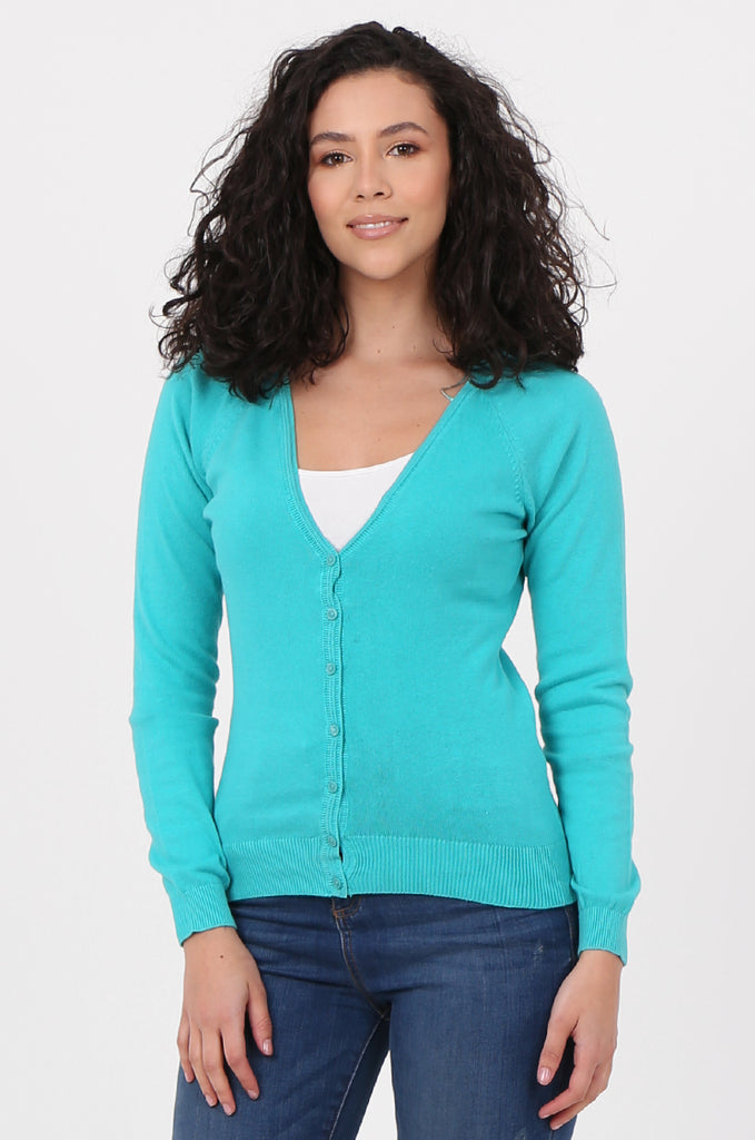 SWF2649-TURQUOISE BASIC BUTTON UP CARDIGAN