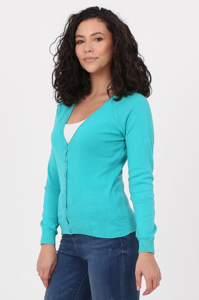 SWF2649-TURQUOISE BASIC BUTTON UP CARDIGAN view 2