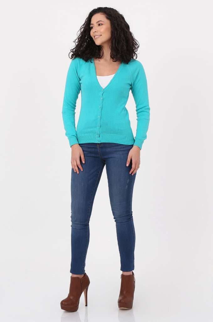 SWF2649-TURQUOISE BASIC BUTTON UP CARDIGAN view 4