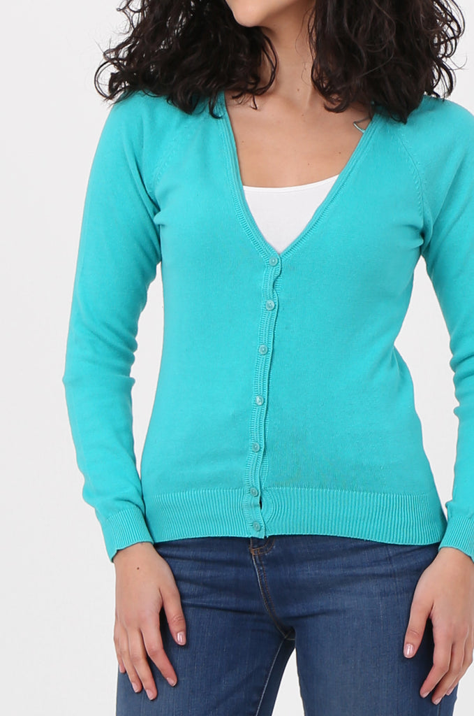 SWF2649-TURQUOISE BASIC BUTTON UP CARDIGAN view 5