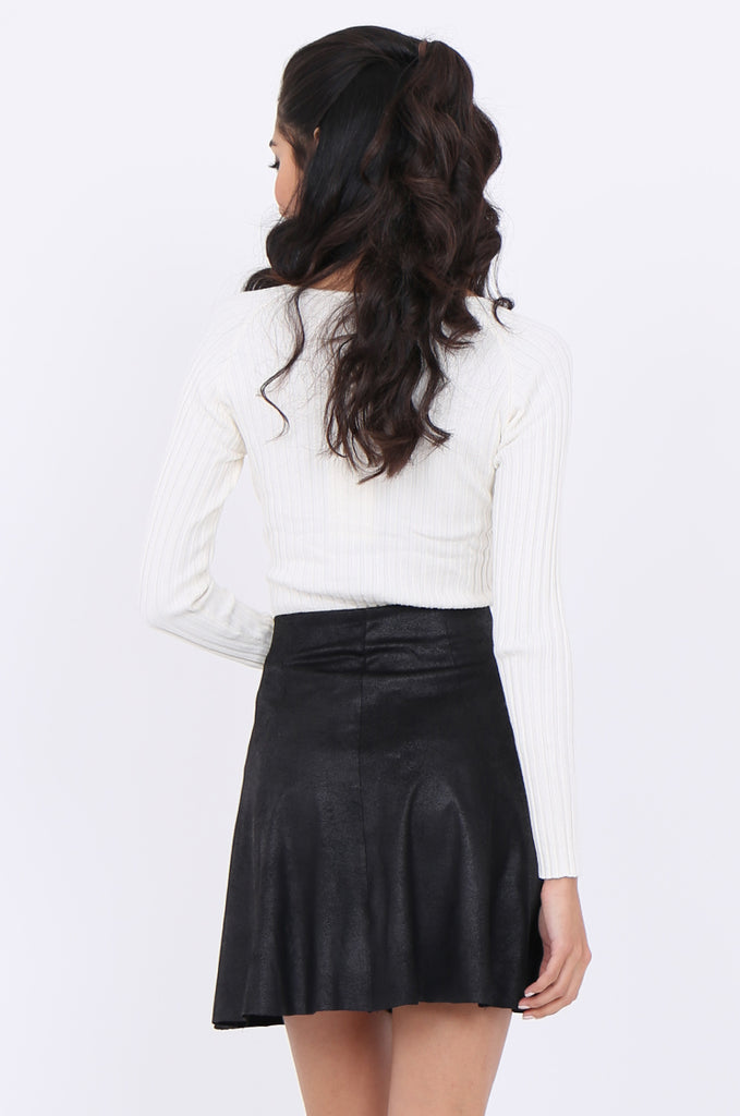SWS1649-BLACK DISTRESSED POPPER FRONT SKIRT view 3
