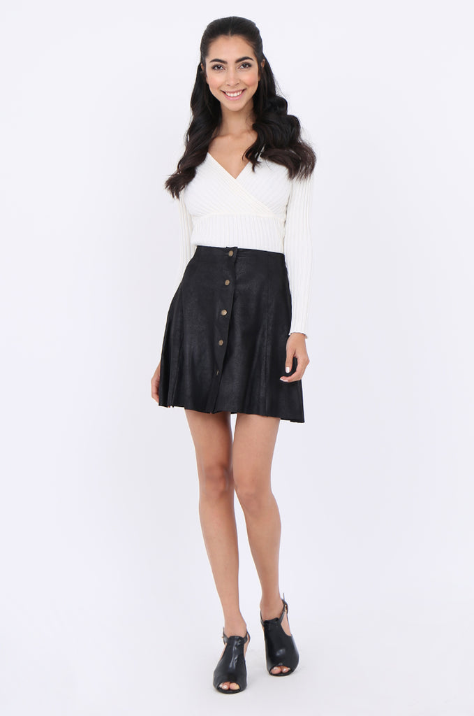 SWS1649-BLACK DISTRESSED POPPER FRONT SKIRT view 4