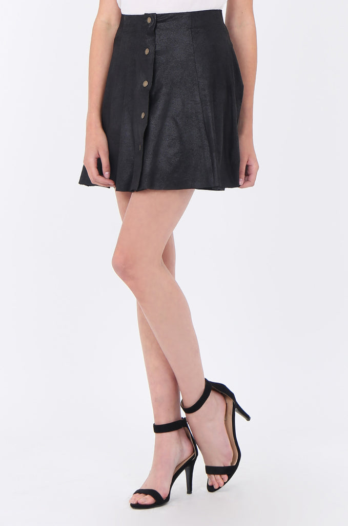 SWS1649-BLACK DISTRESSED POPPER FRONT SKIRT view 5