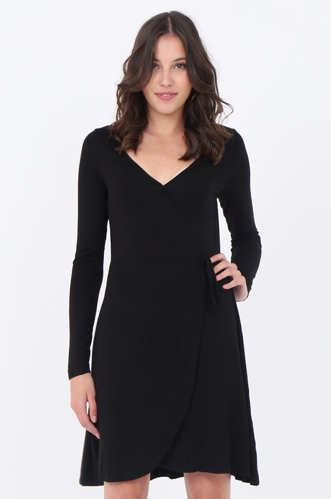 SWS1651-BLACK JERSEY WRAP LOOK LONG SLEEVE DRESS view 2