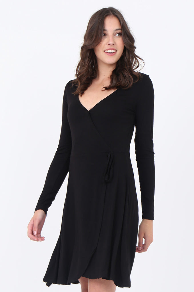 SWS1651-BLACK JERSEY WRAP LOOK LONG SLEEVE DRESS view 3