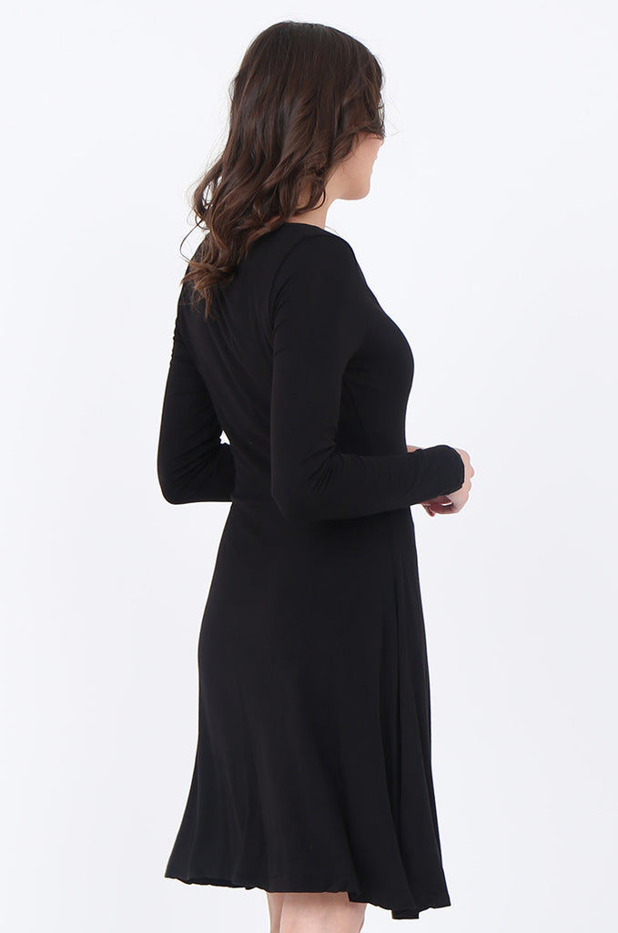 SWS1651-BLACK JERSEY WRAP LOOK LONG SLEEVE DRESS view 4