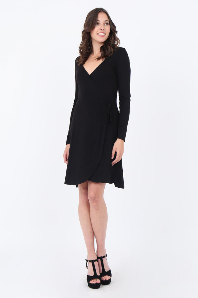 SWS1651-BLACK JERSEY WRAP LOOK LONG SLEEVE DRESS