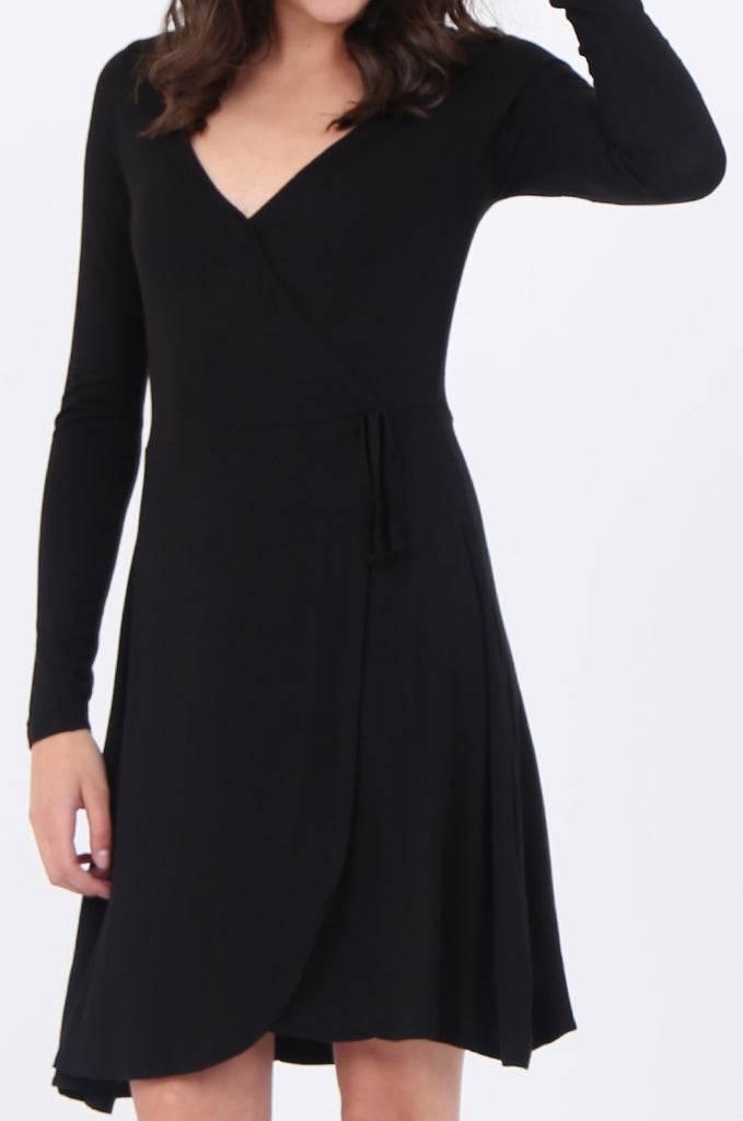 SWS1651-BLACK JERSEY WRAP LOOK LONG SLEEVE DRESS view 5