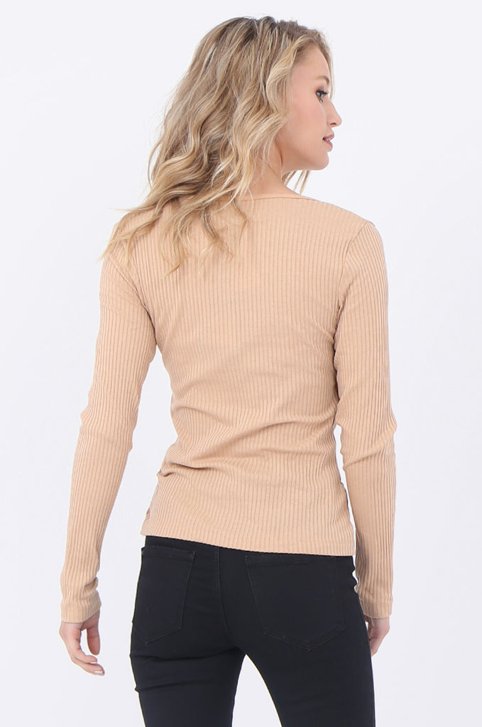 WRAP RIBBED JERSEY TOP