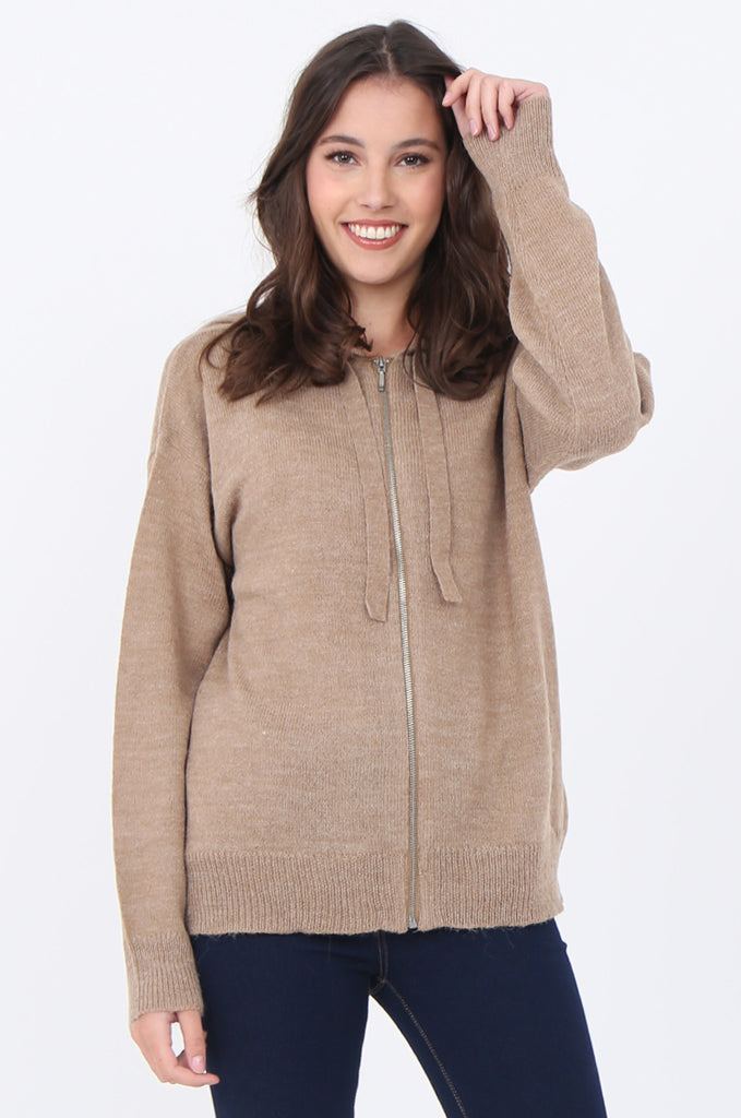 SWS1655-CAMEL HOODED ZIP JUMPER view main view