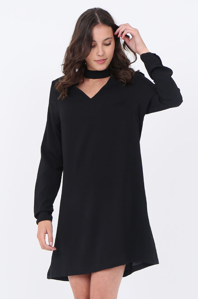 SWS1727-BLACK CHOKER LONG SLEEVE DRESS view 2