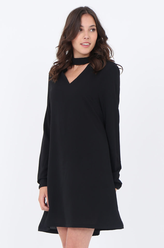 SWS1727-BLACK CHOKER LONG SLEEVE DRESS view 3
