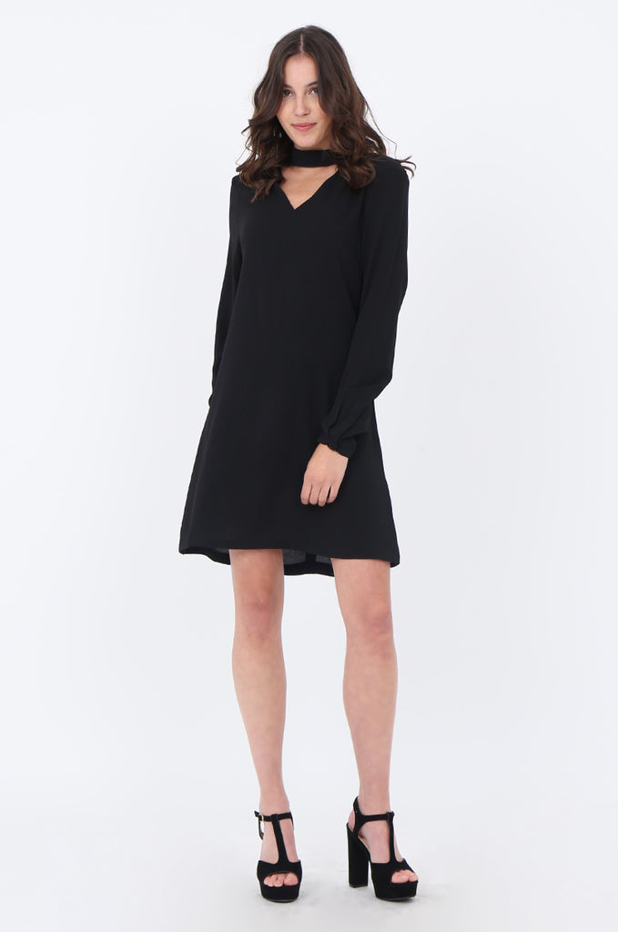SWS1727-BLACK CHOKER LONG SLEEVE DRESS