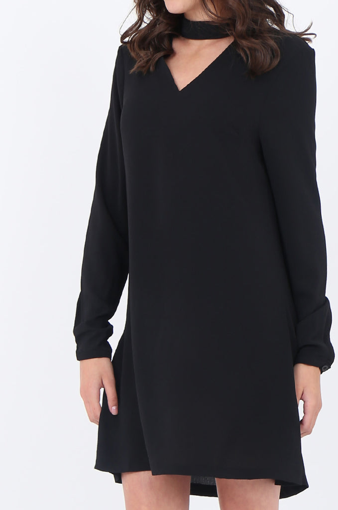 SWS1727-BLACK CHOKER LONG SLEEVE DRESS view 5