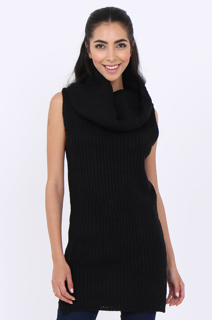 SWS1939-BLACK CHUNKY COWL NECK SLEEVELESS RIB KNIT TUNIC