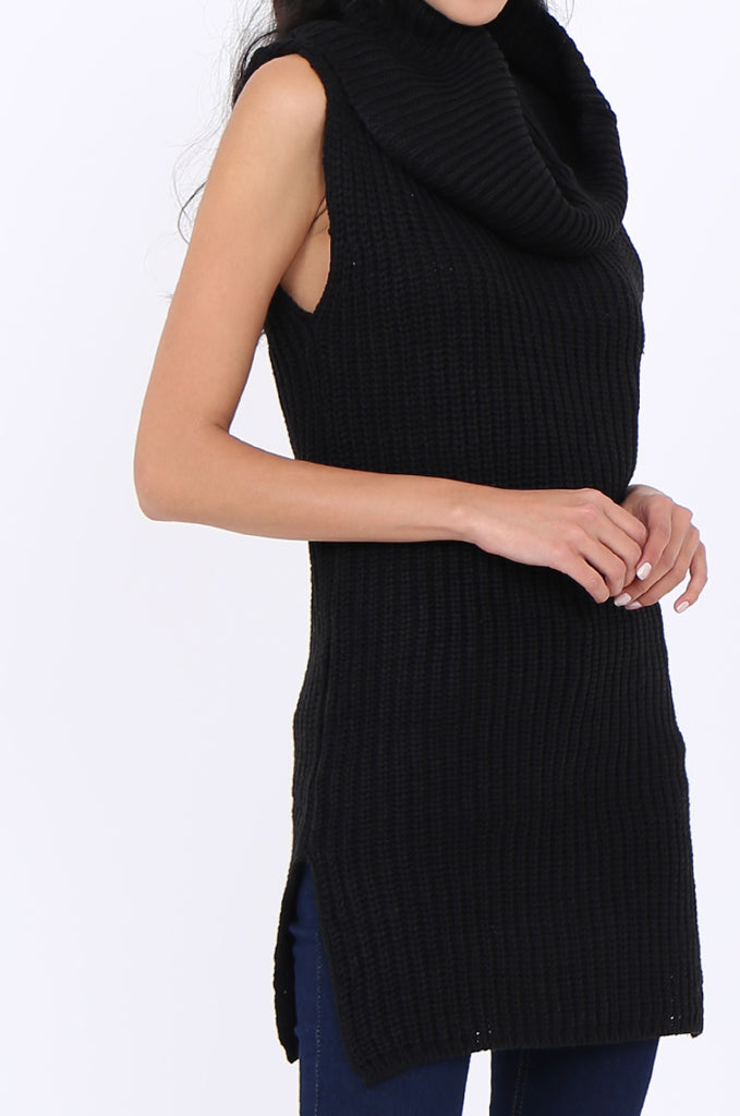 SWS1939-BLACK CHUNKY COWL NECK SLEEVELESS RIB KNIT TUNIC view 5