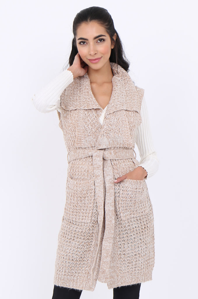 SWS1940-BEIGE TWEEDY COLLARED POCKET FRONT BELTED SLEEVELESS CARDIGAN