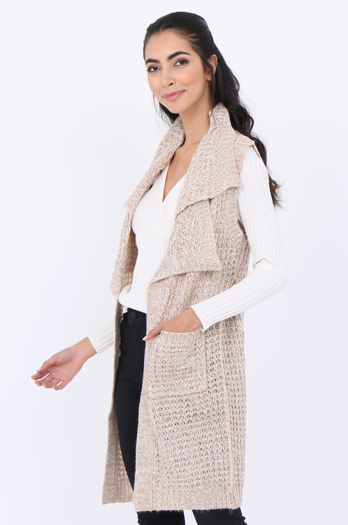 SWS1940-BEIGE TWEEDY COLLARED POCKET FRONT BELTED SLEEVELESS CARDIGAN view 2