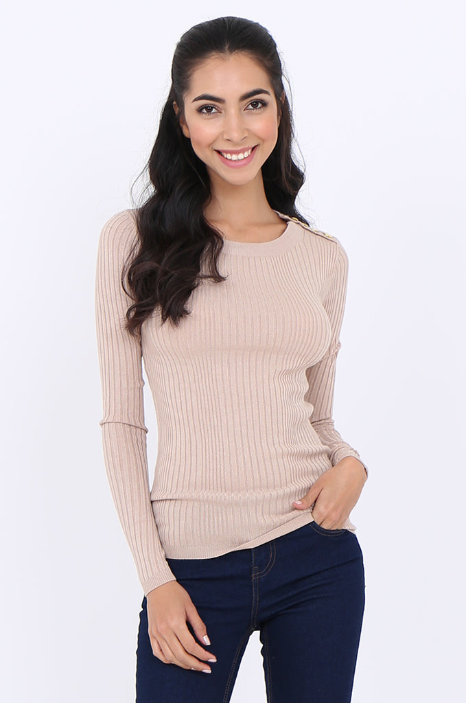 SWS1943-BEIGE BUTTON SHOULDER RIB KNIT TOP