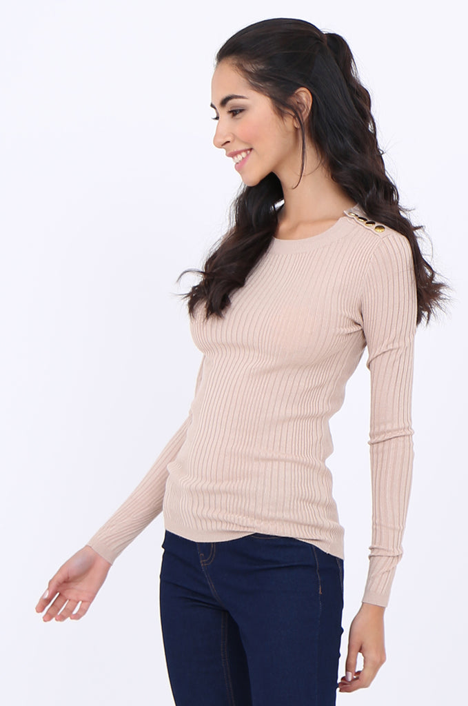 SWS1943-BEIGE BUTTON SHOULDER RIB KNIT TOP view 2