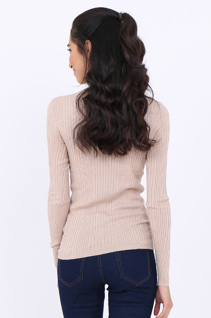 SWS1943-BEIGE BUTTON SHOULDER RIB KNIT TOP view 3