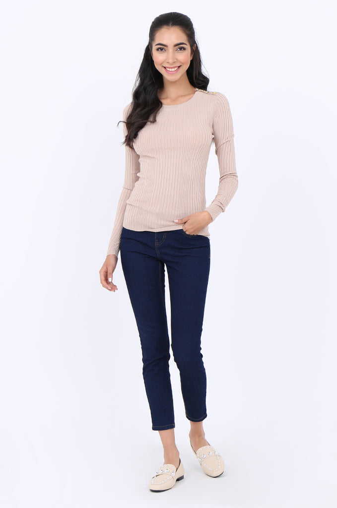 SWS1943-BEIGE BUTTON SHOULDER RIB KNIT TOP view 4
