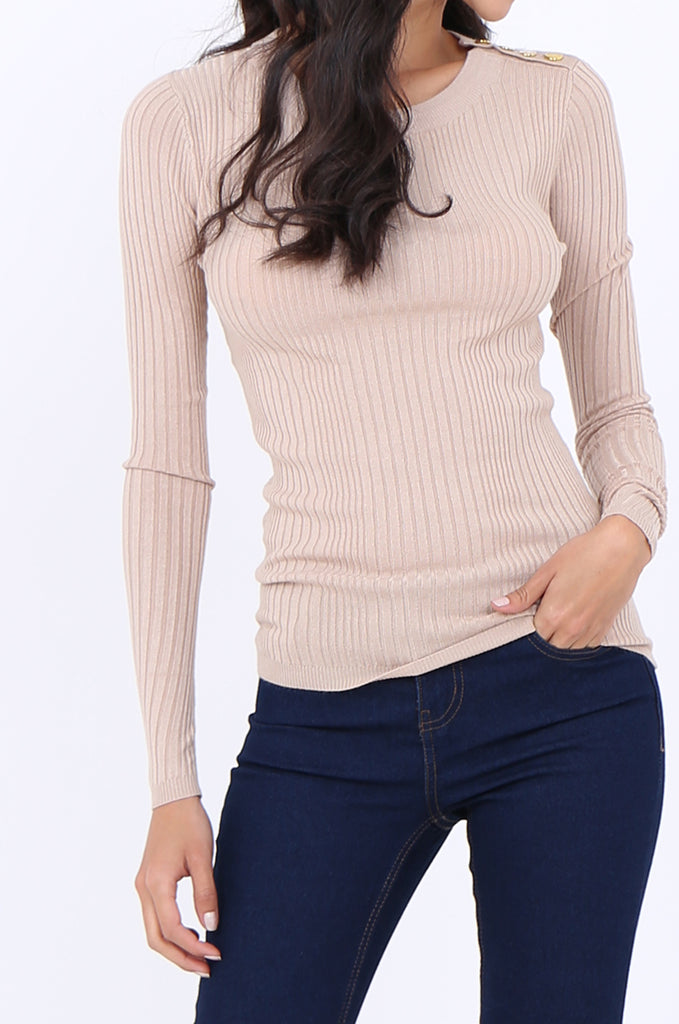SWS1943-BEIGE BUTTON SHOULDER RIB KNIT TOP view 5