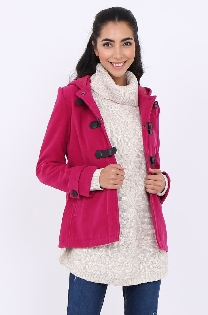 SWS1945-PINK BUCKLE FRONT HOODED DUFFLE COAT view 2