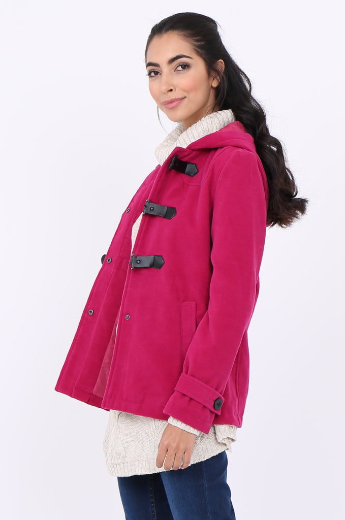 SWS1945-PINK BUCKLE FRONT HOODED DUFFLE COAT view 3