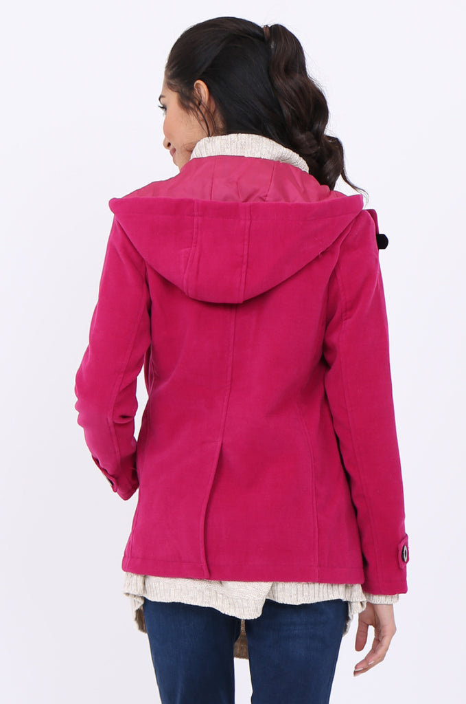 SWS1945-PINK BUCKLE FRONT HOODED DUFFLE COAT view 4