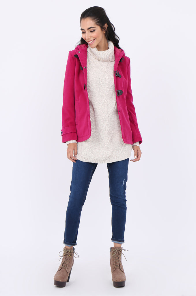 SWS1945-PINK BUCKLE FRONT HOODED DUFFLE COAT