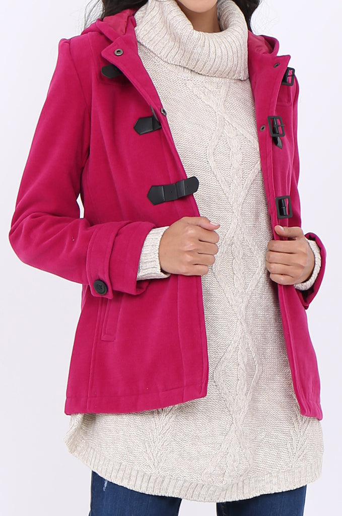 SWS1945-PINK BUCKLE FRONT HOODED DUFFLE COAT view 5